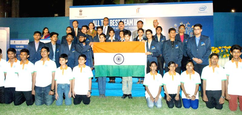 Union Minister of State for Science and Technology and Earth Science, Y.S. Chowdary at the flagging off ceremony of Team India ISEF-2015, in New Delhi on April 28, 2015.