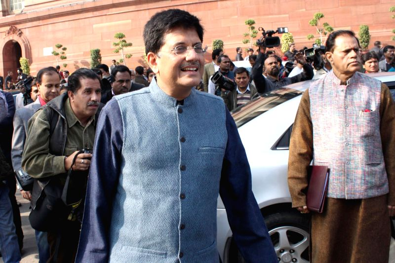 Union Minister of State (Independent Charge) for Power, Coal and New and Renewable Energy, Piyush Goyal at the Parliament premises in New Delhi, on Dec 16, 2014.