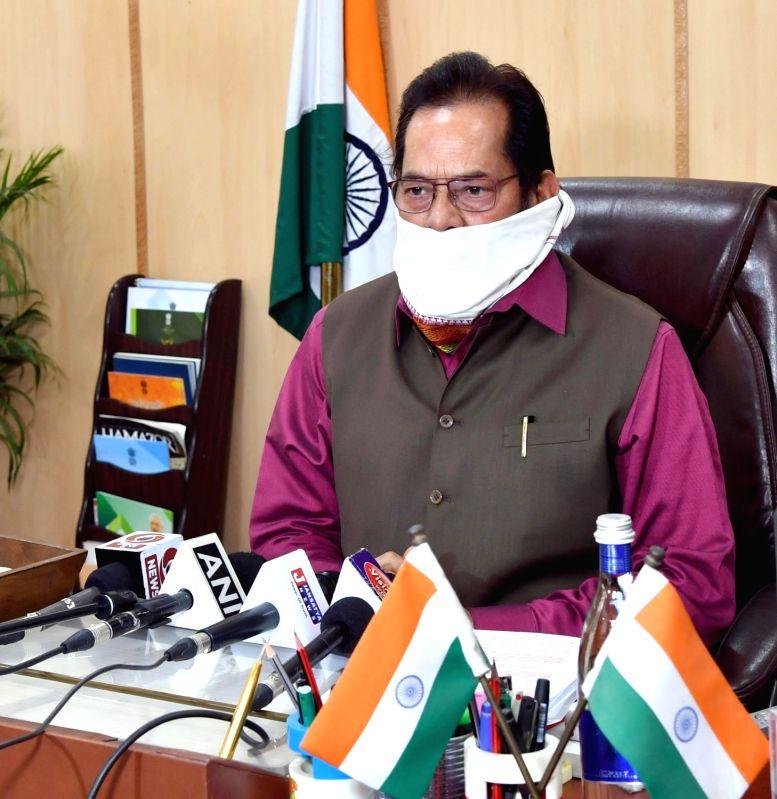 New Delhi: Union Minority Affairs Minister Mukhtar Abbas Naqvi addresses a press conference, in New Delhi on Apr 21, 2020. (Photo: IANS/PIB)
