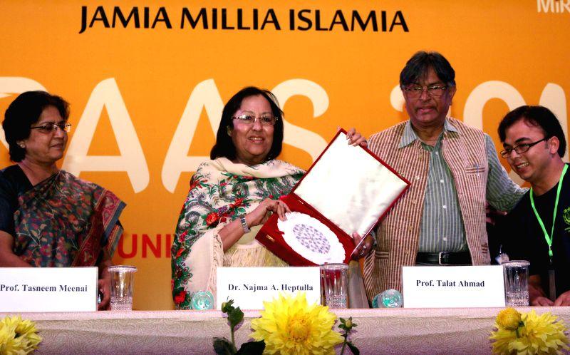 Union Minority Affairs Minister Najma Heptulla and Jamia Millia Islamia vice chancellor Talat Ahmad during the inauguration of `MIRAAS-2015` at Jamia Millia Islamia in New Delhi, on March ... - Najma Heptulla
