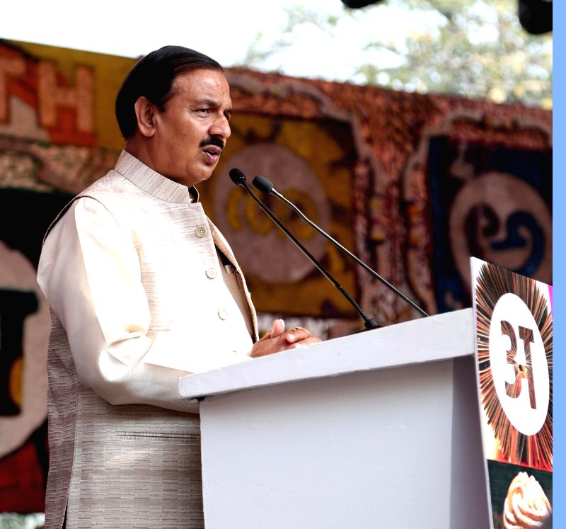 "New Delhi: Union MoS Culture Mahesh Sharma addresses at the inauguration of ""ARTH - A Culture Fest"", in New Delhi on Feb 8, 2019. (Photo: IANS/PIB)"