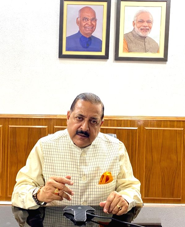 New Delhi: Union MoS Development of North Eastern Region Prime Minister's Office, Personnel, Public Grievances & Pensions, Atomic Energy and Space Jitendra Singh briefs the media on Regular Air Cargo supplies, including essential commodities and me