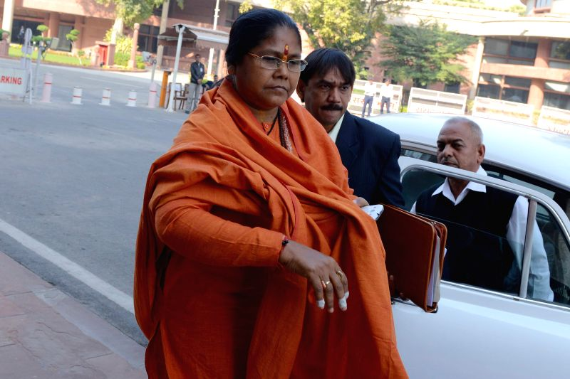 Union MoS Food Processing Industries Sadhvi Niranjan Jyoti at the Parliament premises in New Delhi on Dec 4, 2014.