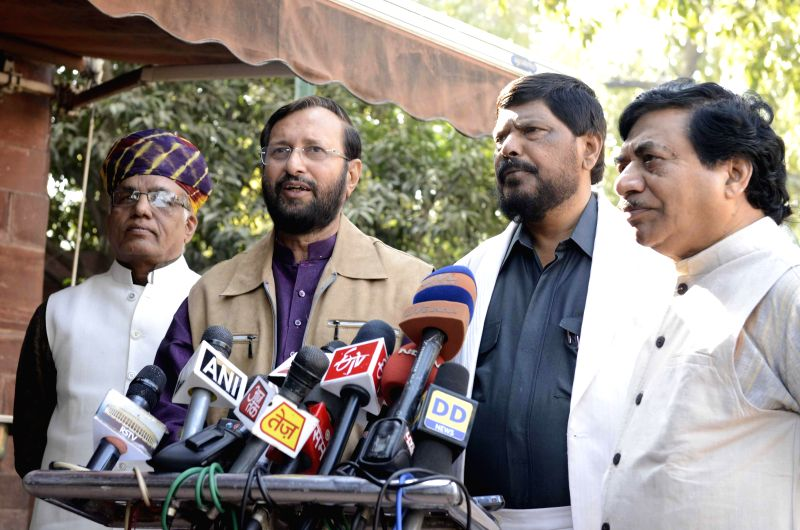 Union MoS for Environment, Forest and Climate Change Prakash Javadekar talks to press at the Parliament premises in New Delhi on Dec 4, 2014.