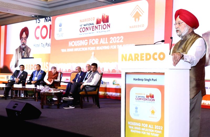 "New Delhi: Union MoS Housing and Urban Affairs, Civil Aviation (Independent Charge) and Commerce and Industry Hardeep Singh Puri addresses at the 15th National Convention on ""Housing for All 2022"" organised by NAREDCO, in New Delhi on Aug 20, 2019. ("