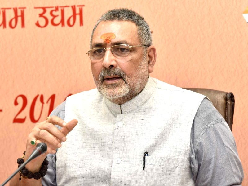 New Delhi: Union MoS Micro, Small and Medium Enterprises Giriraj Singh addresses a press conference on the achievements of the Ministry of Micro, Small and Medium Enterprises in the last four years, in New Delhi on June 13, 2018. (Photo: IANS/PIB)