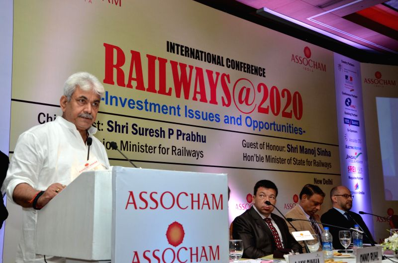 Union MoS Railways Manoj Sinha addresses during an international conference on `Railways@2020 - Investment Issues and Opportunities` in New Delhi on March 11, 2015. - Manoj Sinha