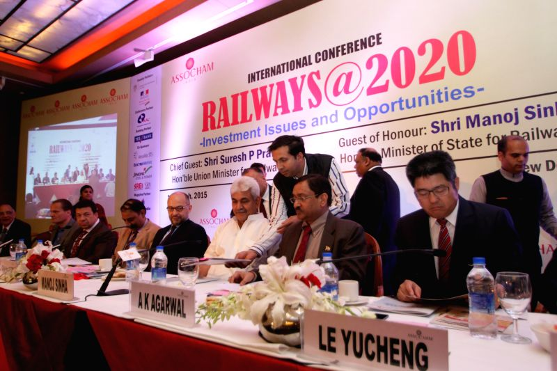 Union MoS Railways Manoj Sinha during an international conference on `Railways@2020 - Investment Issues and Opportunities` in New Delhi on March 11, 2015. - Manoj Sinha