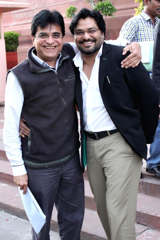 Union MoS Urban Development Babul Supriyo and senior BJP leader Kirit Somaiya at the Parliament in New Delhi, on March 12, 2015.