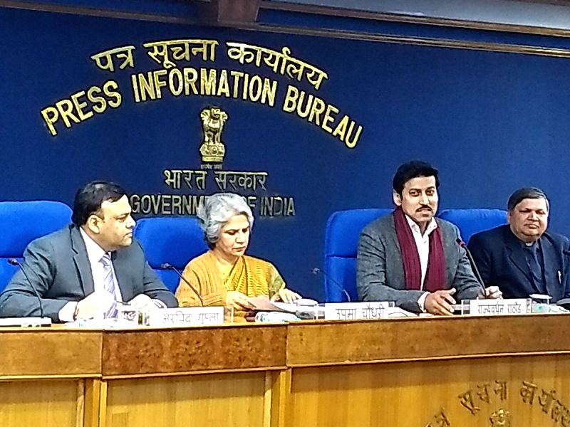New Delhi: Union MoS Youth Affairs and Sports Rajyavardhan Singh Rathore at a press conference during the inauguration of National Youth Parliament 2019 in New Delhi, on Jan 12, 2019. (Photo: IANS/PIB)