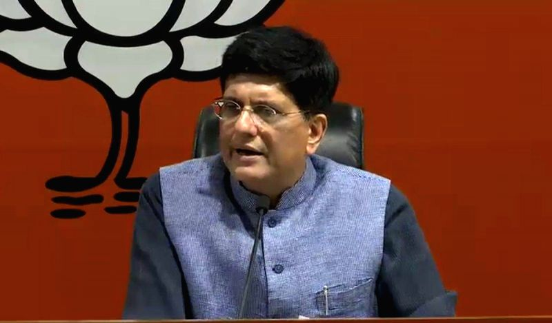 :New Delhi: Union Railways and Coal Minister Piyush Goyal addresses a press conference, in New Delhi, on Oct 12, 2018. (Photo: IANS/BJP).(Image Source: IANS)