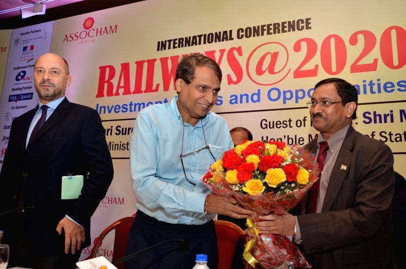 Union Railways Minister Suresh Prabhakar Prabhu during a an international conference on `Railways@2020 - Investment Issues and Opportunities` in New Delhi on March 11, 2015. - Suresh Prabhakar Prabhu