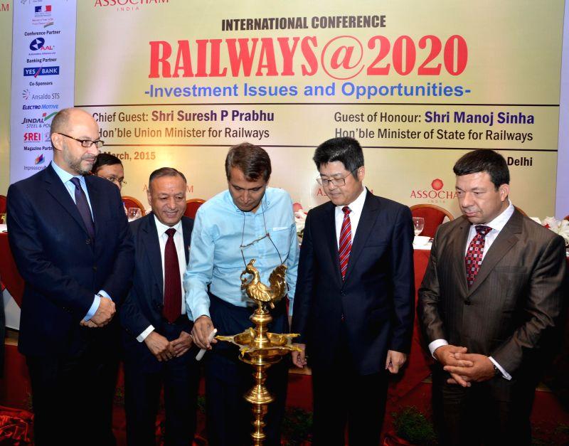 Union Railways Minister Suresh Prabhakar Prabhu during an international conference on `Railways@2020 - Investment Issues and Opportunities` in New Delhi on March 11, 2015. - Suresh Prabhakar Prabhu