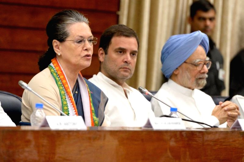 :New Delhi: UPA Chairperson and Congress leader Sonia Gandhi, Congress President Rahul Gandhi and party leader Manmohan Singh at the Congress Working Committee (CWC) meeting, in New Delhi, on July ...