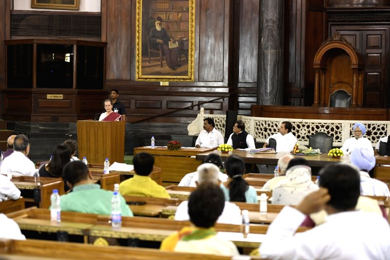 New Delhi: UPA chairperson Sonia Gandhi addresses during the Congress Parliamentary Party (CPP) meeting in New Delhi on June 1, 2019. Also seen Congress leaders Rahul Gandhi and Manmohan Singh. Sonia Gandhi will continue as the Congress Parliamentary