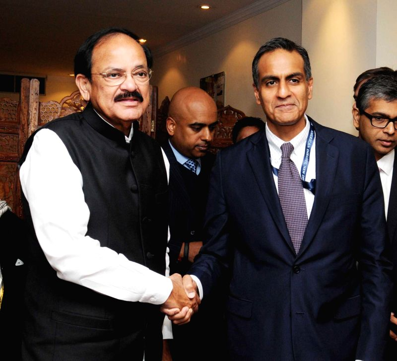 New Delhi : US Ambassador to India Richard Verma meets the Union Minister for Urban Development, Housing and Urban Poverty Alleviation and Parliamentary Affairs M. Venkaiah Naidu, in New Delhi on Jan - M. Venkaiah Naidu and Richard Verma