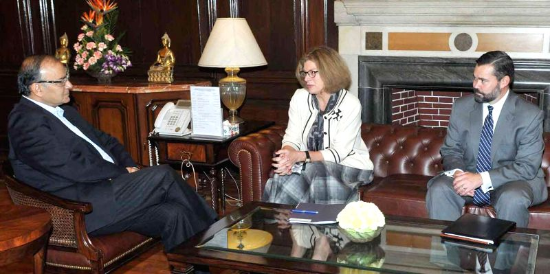 US Charge d`Affaires in India, Kathleen Stephens calls on the Union Minister for Finance, Corporate Affairs, and Information and Broadcasting, Arun Jaitley, in New Delhi on Nov 19, 2014.