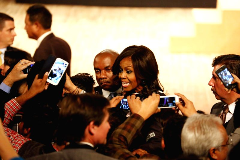 US First Lady Michelle Obama meeting members of audience at the Siri Fort Auditorium in New Delhi on Jan. 27, 2015.