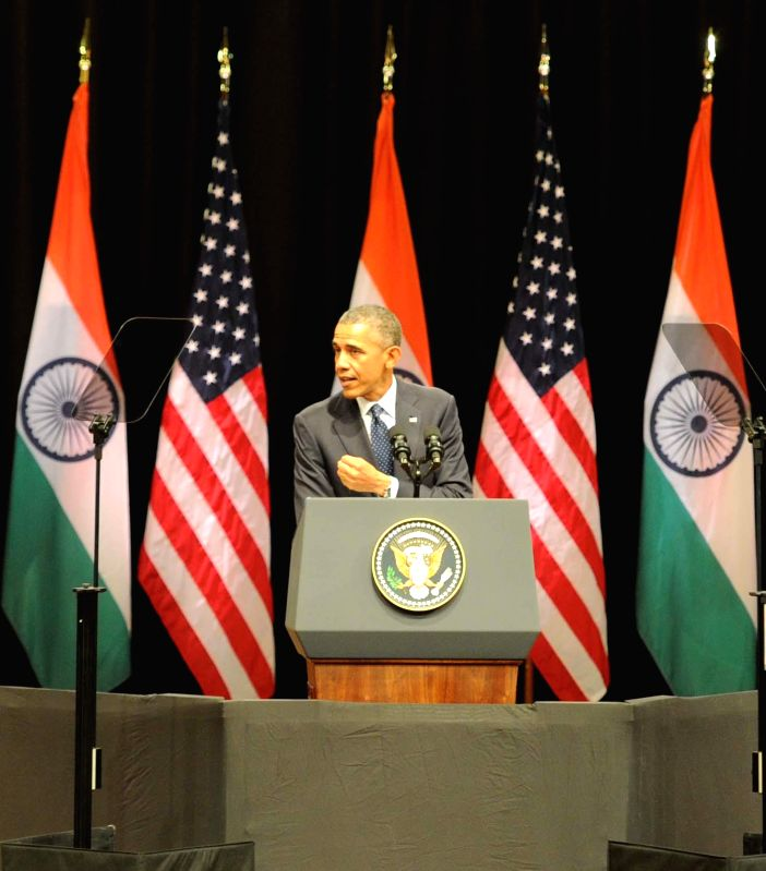 US President Barack Obama addresses an audience at the Siri Fort Auditorium in New Delhi on Jan. 27, 2015.