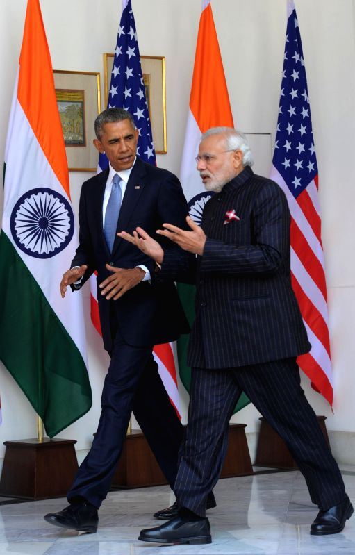 US President Barack Obama and Prime Minister Narendra Modi during a meeting at the Hyderabad House in New Delhi, on Jan 25, 2015. - Narendra Modi