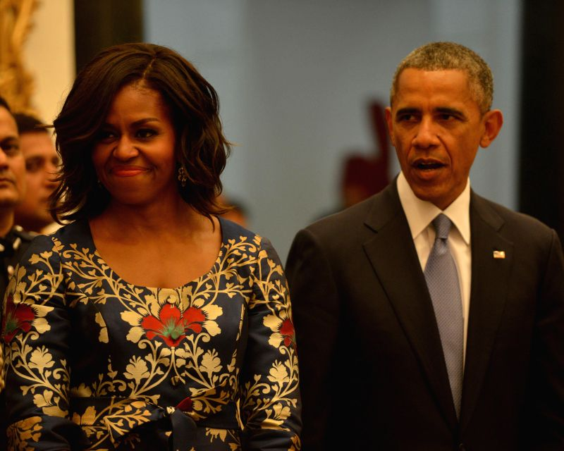 US President Barack Obama and the First Lady Michelle Obama at a banquet hosted by President Pranab Mukherjee in his honour at Rashtrapati Bhavan, in New Delhi on Jan 25, 2015. - Pranab Mukherjee