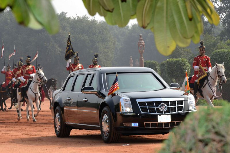 US President Barack Obama arrives at the Rashtrapati Bhawan for a ceremonial welcome aboard his armored vehicle - `The Beast`, in New Delhi, on Jan 25, 2015.