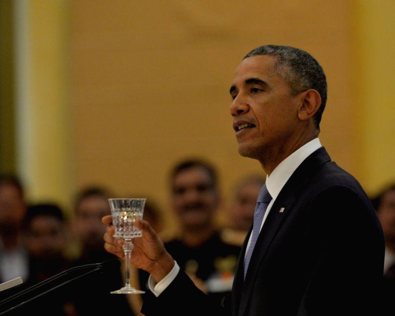 US President Barack Obama at a banquet hosted by President Pranab Mukherjee in his honour at Rashtrapati Bhavan, in New Delhi on Jan 25, 2015. - Pranab Mukherjee