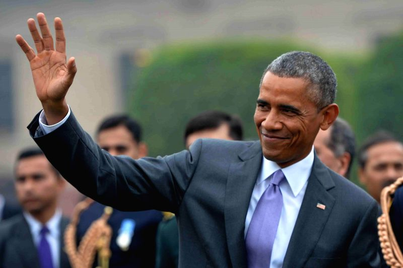 US President Barack Obama during the  `At Home` function organised by President Pranab Mukherjee on Republic Day at Rashtrapati Bhawan in New Delhi, on Jan 26, 2015. - Pranab Mukherjee