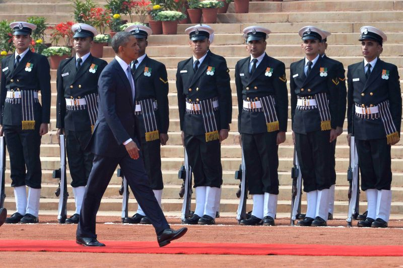 US President Barack Obama inspects the Guard of Honour at the Rashtrapati Bhawan in New Delhi, on Jan 25, 2015.