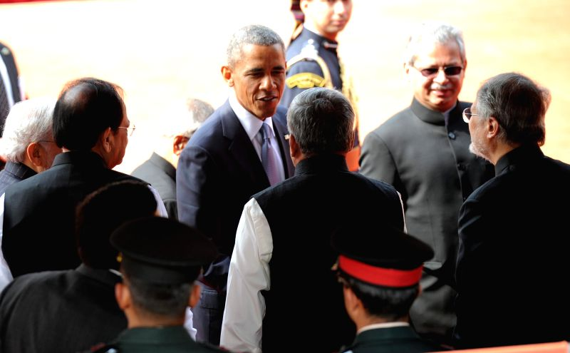 US President Barack Obama interacts with cabinet ministers during the his ceremonial reception at the Rashtrapati Bhawan in New Delhi, on Jan 25, 2015.