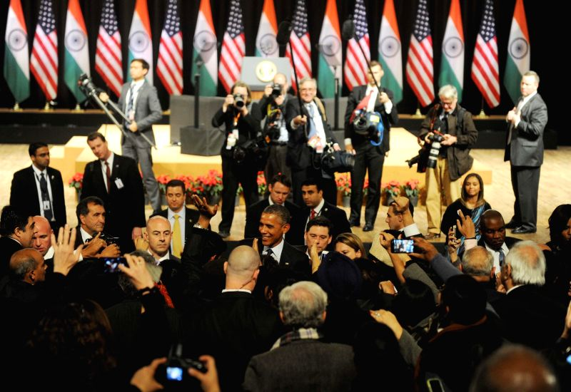 US President Barack Obama meeting members of audience at the Siri Fort Auditorium in New Delhi on Jan. 27, 2015.