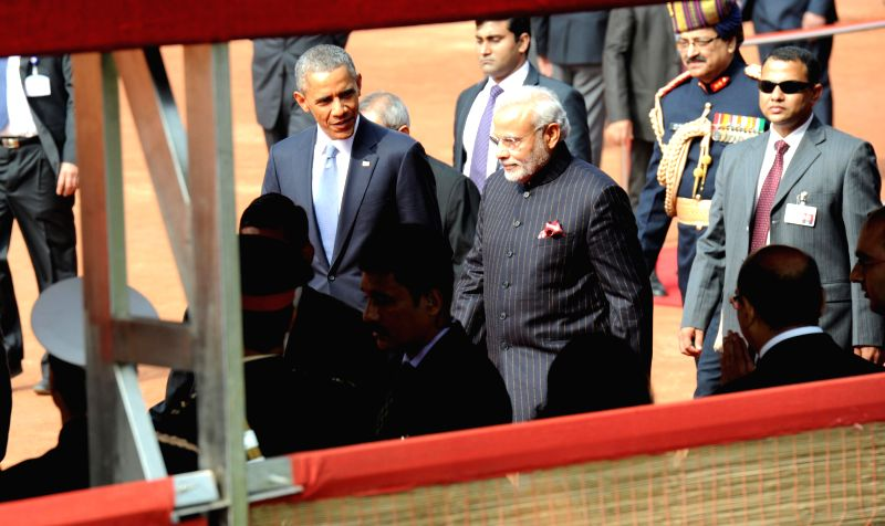 US President Barack Obama with Prime Minister Narendra Modi during the former's ceremonial reception at the Rashtrapati Bhawan in New Delhi, on Jan 25, 2015. - Narendra Modi