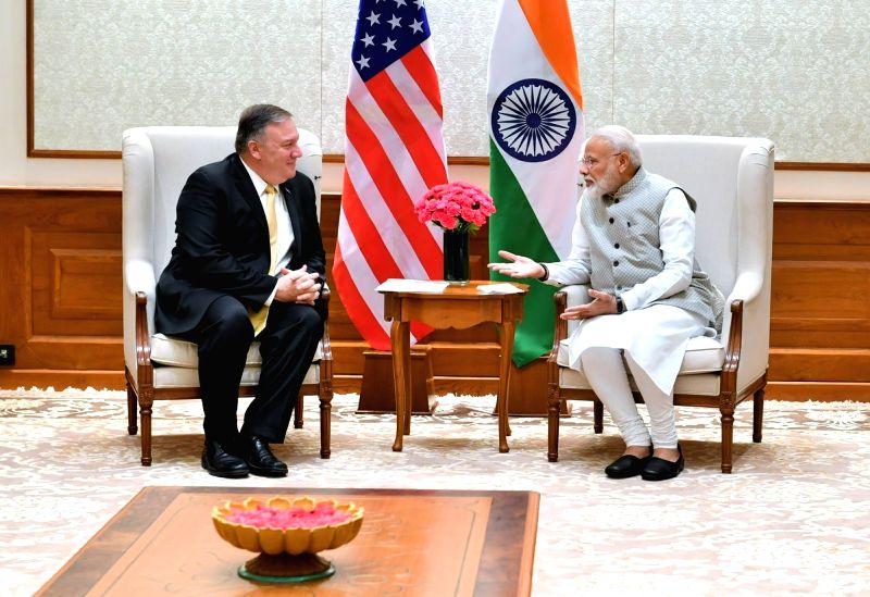 New Delhi: US Secretary of State Mike Pompeo meets Prime Minister Narendra Modi in New Delhi on June 26, 2019. (Photo: IANS/PIB)