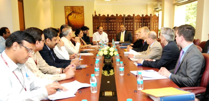 US Secretary of Transportation Anthony Foxx with a delegation meets the Union Minister for Urban Development, Housing and Urban Poverty Alleviation and Parliamentary Affairs M. Venkaiah ...