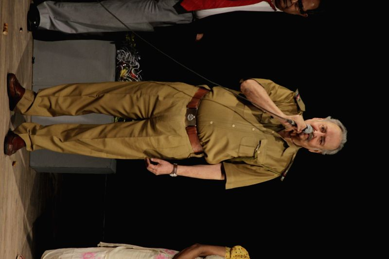 Veteran actor Soumitra Chatterjee performs during NSD Fest at Kammani Auditorium in New Delhi, on Feb 9, 2015.