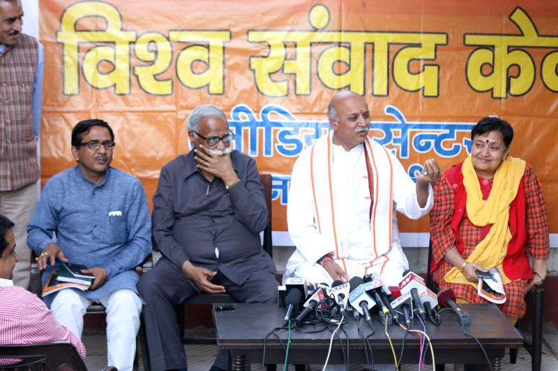 VHP leader Praveen Togadia addresses a press conference in New Delhi on March 21, 2015.