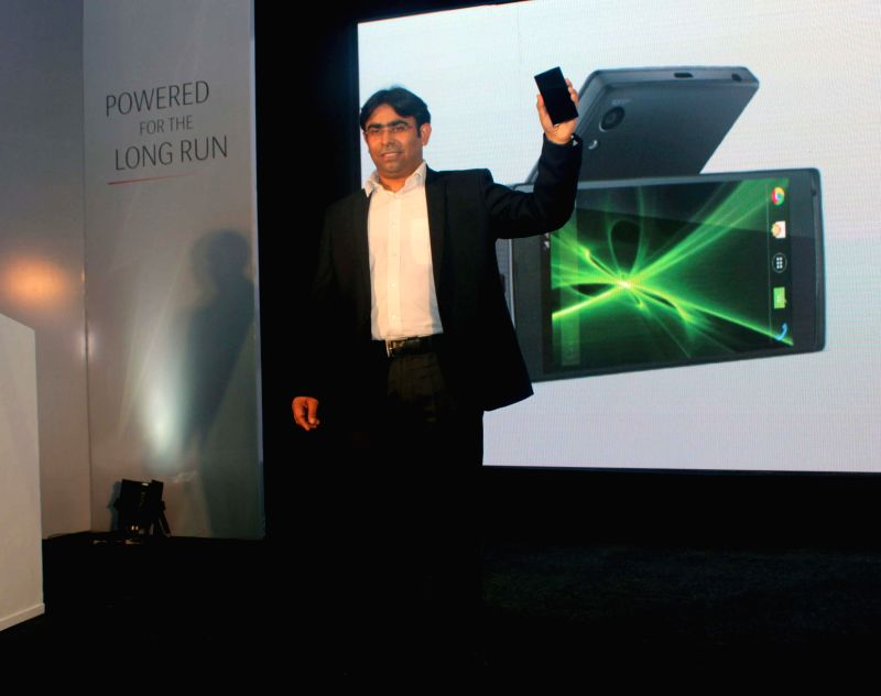 Vice President and Head Product of Lava Navin Chawla at the launch of `Iris Fuel 60` in New Delhi, on Dec 16, 2014.