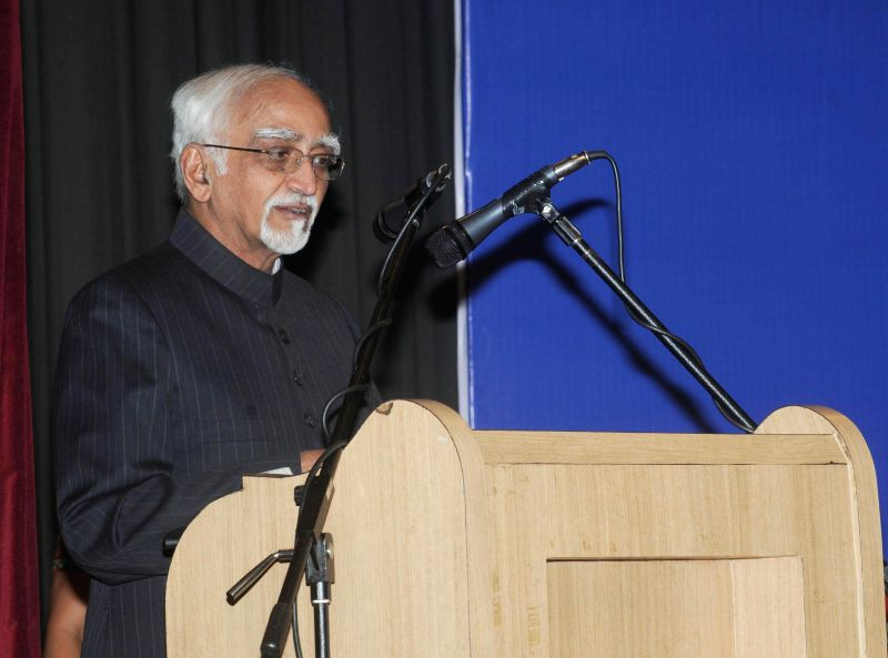 Vice-President Mohammad Hamid Ansari addresses at the conferment of the first Nagaendra Singh International Peace Award, in New Delhi on Dec 5, 2014.