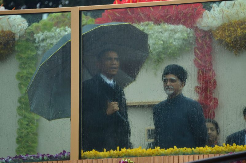 Vice-President Mohammad Hamid Ansari and US President Barack Obama during  Republic Day celebrations at Rajpath in New Delhi, on Jan 26, 2015.