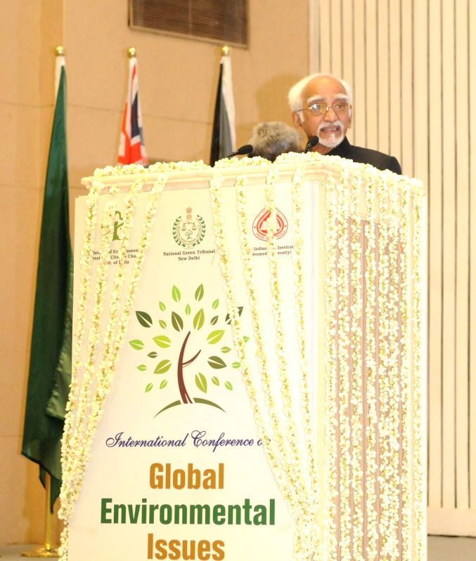 Vice-President Mohammad Hamid Ansari addresses at the inauguration of `International Conference on Global Environment Issues` organised by the National Green Tribunal, in New Delhi on ...