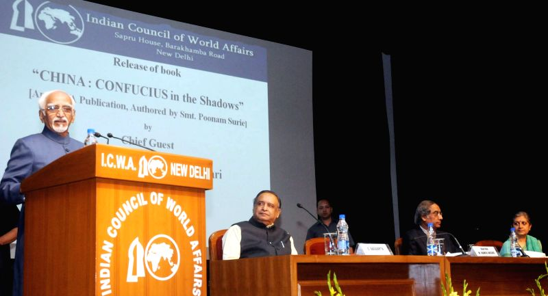 Vice President Mohammad Hamid Ansari addresses at the release of Poonam Surie's book `China: Confucius in the Shadows`, in New Delhi on May 01, 2015.
