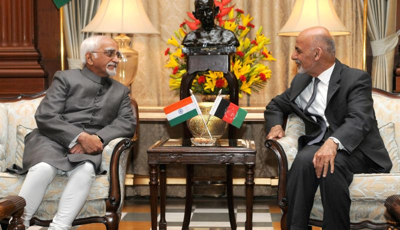 Vice President Mohd. Hamid Ansari during a meeting with Afghanistan President Dr. Mohammad Ashraf Ghani in New Delhi, on April 28, 2015.