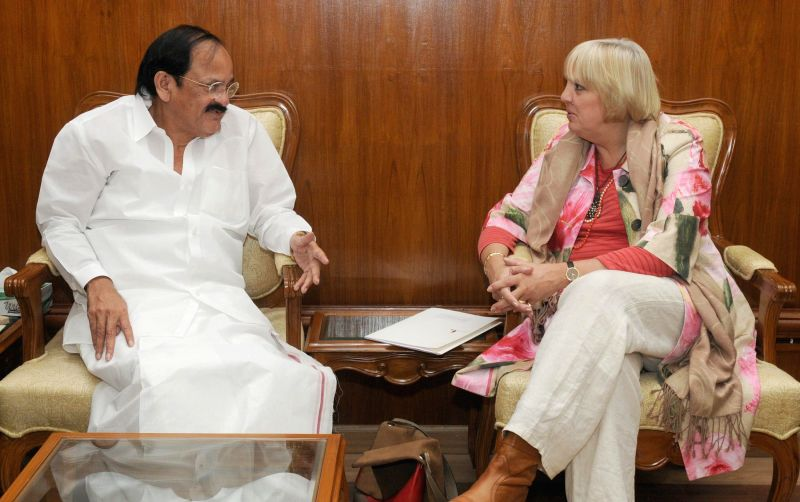 Vice President of the German Parliament Claudia Roth calls on the Union Minister for Urban Development, Housing and Urban Poverty Alleviation and Parliamentary Affairs, M Venkaiah Naidu, ...