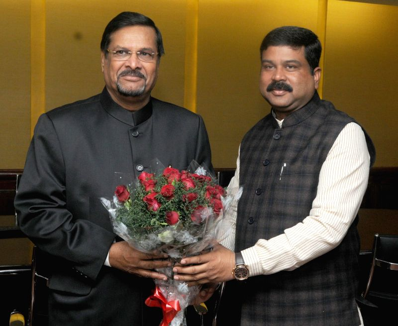 Vice Prime Minister of Mauritius Showkutally Soodhun meets the Minister of State for Petroleum and Natural Gas (Independent Charge) Dharmendra Pradhan in New Delhi, on Jan 10, 2015.