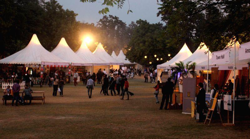 Visitors at Food Fest organised at Nehru Park of New Delhi on Nov 28, 2014.