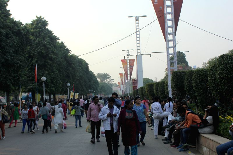 Visitors at the 34th India International Trade Fair (IITF) 2014 at Pragati Maidan in New Delhi on Nov 22, 2014.