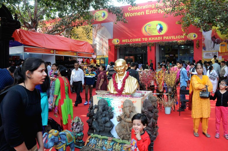 Visitors at the 34th India International Trade Fair (IITF) 2014 at Pragati Maidan in New Delhi on Nov 22, 2014.