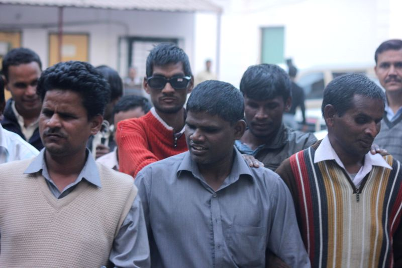 Visually challenged people outside BJP office, where a programme was organised on `International Day for Persons with Disabilities`, in New Delhi, on Dec 3, 2014.