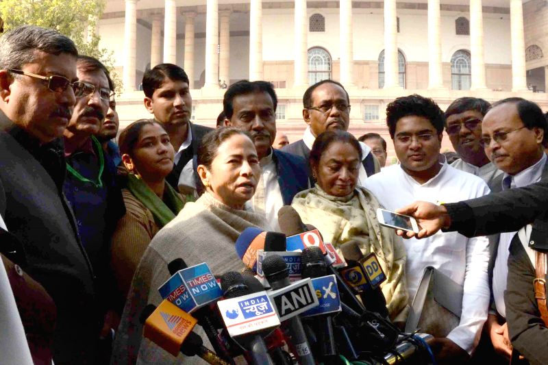 West Bengal Chief Minister and Trinamool Congress chief Mamata Banerjee addresses press at the Parliament premises in New Delhi on Dec 18, 2014.