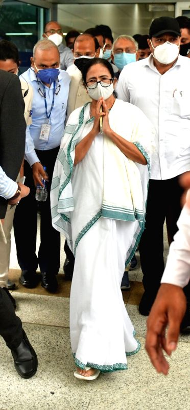 New Delhi: West Bengal Chief Minister Mamata Banerjee arrived at Indira Gandhi International Airport in Delhi on Monday, July 26, 2021. (Photo:  IANS)